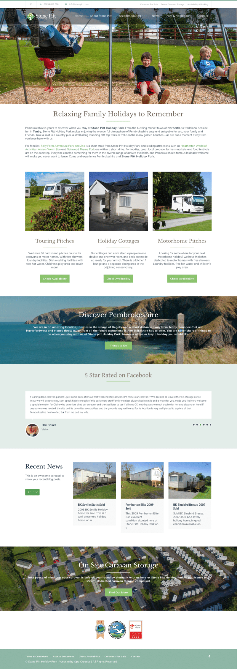 web design for caravan holiday park
