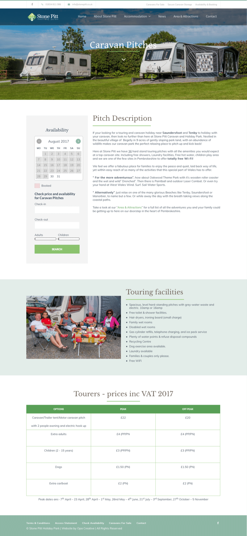 web design for caravan park